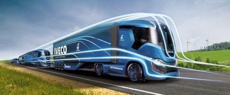 Lastbilløsninger holder i kø for at blive vist frem på Transport 2017